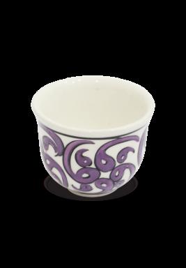 Handmade Porcelain Arabic Coffee cup, 6 Pieces Set - Purple