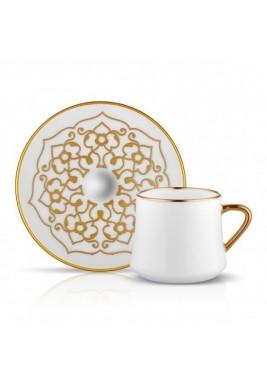 Koleksiyon Porcelain cappuccino Cup with Saucer,6 Pieces Set-Print 2(Turkey)