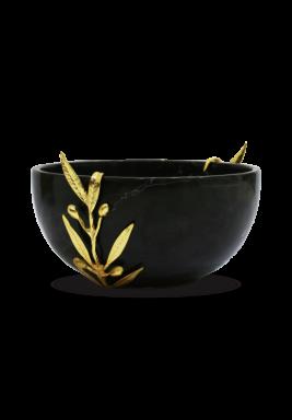 Black Round Marbel Serving Bowl, Size 20 cm