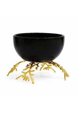 Black Round Marbel Serving Bowl with Gold Base, Size 15 cm