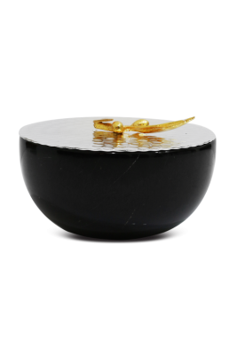 Black Round Marbel Serving Bowl With Cover, Size 15 cm