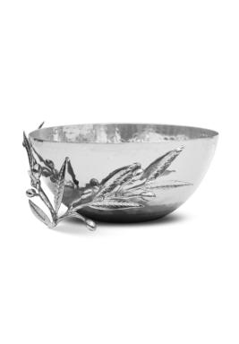 Chrome Round Serving Bowl with Olive leaf Size 20 cm