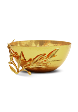 Gold Round Serving Bowl with olive leaf Size 20 cm