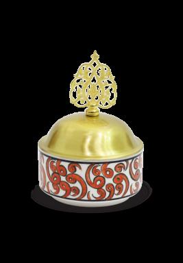 Handmade Porcelain Sugar Bowl with cover -Orange