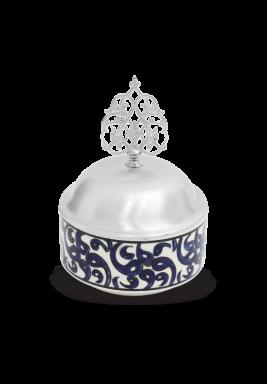 Handmade Porcelain Sugar Bowl with cover - Blue