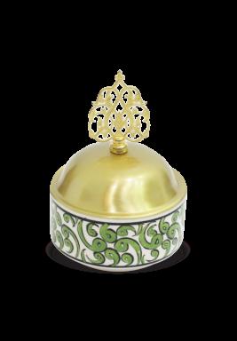Handmade Porcelain Sugar Bowl with cover - Light Green