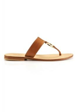 Tan gold flat shoes