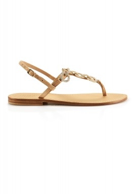 Nude gold crystal sandals