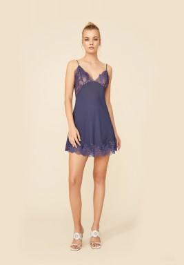 Blue Silk Crepe Nightie