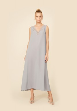 Valerie - Light Grey Silk Crepe Nightie