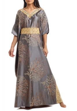 Peekaboo Grey Embroidered Belted Kaftan