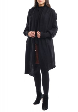 Black Attached Scarf High-Neck Sweater