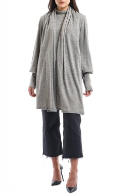 Grey Attached Scarf High-Neck Sweater