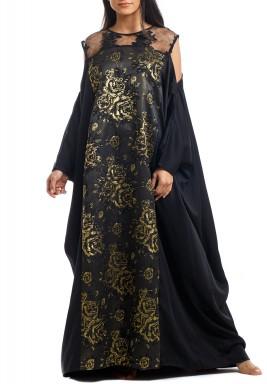 Black Oversized Floral Kaftan