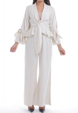 Off-White Ruffled Top & Slit Pants Set