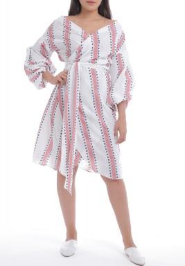 White Wrap Puffed Sleeves Dress