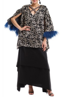 Black Embroidered Blue Feather Dress