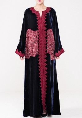 Velvet embroidery kaftan