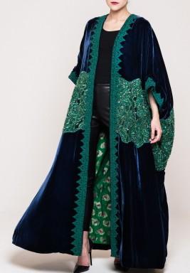 Royal green velvet bisht