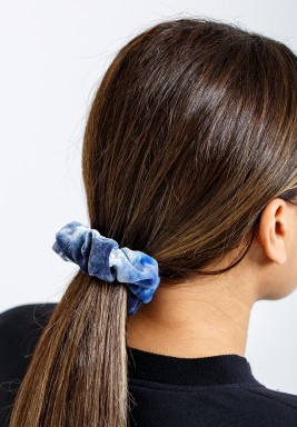 Rainbow Navy Velvet Scrunchie