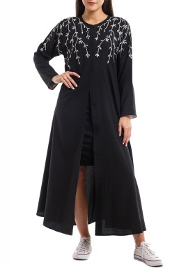 Amona Black Embroidered Abaya
