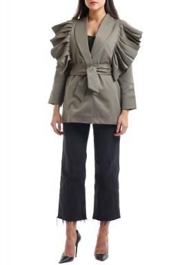 Olive Ruffled Belted Jacket