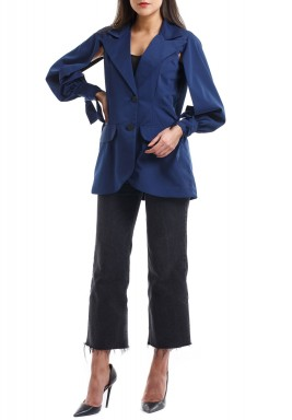 Navy Open Sleeves Blazer