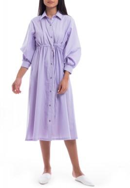 Lavender Puffed Sleeves Midi Dress