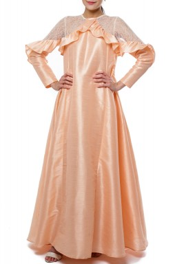 Peach & White Ruffled Kaftan