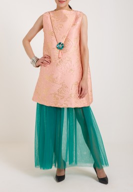 Peach and Green Kaftan