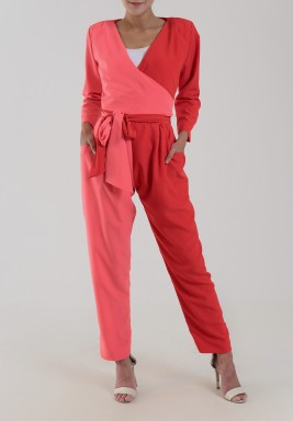 Red & Pink Wrap Belted Jumpsuit