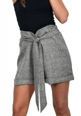 Checked shorts with belt