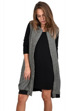 Front Zip Long Wool Vest/Dress
