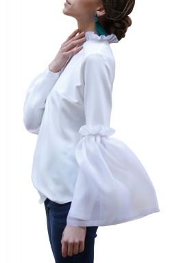 organza bell-sleeve top
