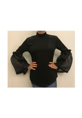 Organza bell-sleeve top Black