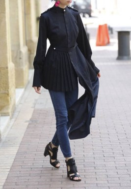 Asymmetrical Pleated Shirt Black