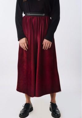 Burgundy velvet Wide Leg Culotte