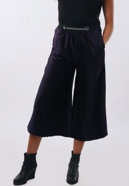 Navy Velvet Wide Leg Culotte