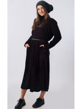 Black Velvet Wide Leg Culotte