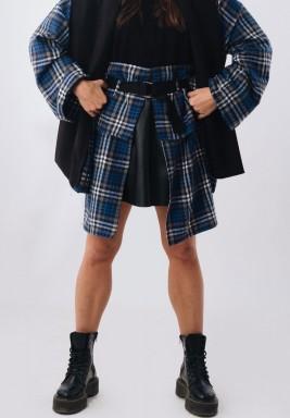 Navy Plaid High Waist Skirt