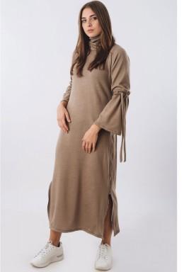 Beige Dress with Side Zipper