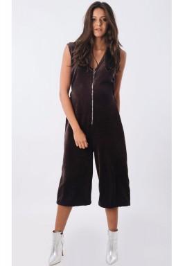 Grey Velvet Front Zip Jumpsuit