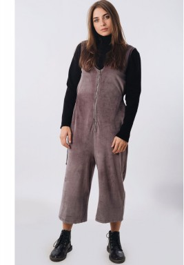Silver Velvet Front Zip Jumpsuit