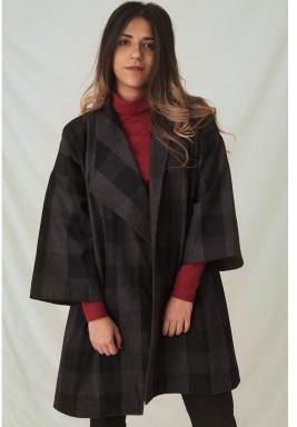 Plaid wool Cape Coat