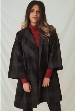 Plaid wool Cape Coat