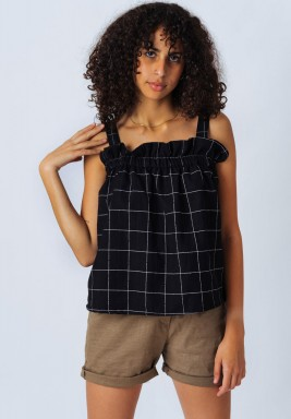 Black Frill Sleeveless Top