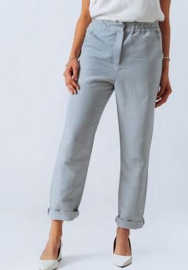 Mint Green Straight Fit Linen Pants