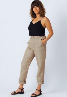 Beige Straight Fit Linen Pants