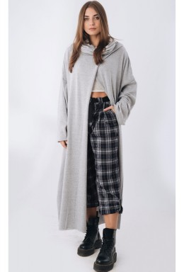 Long Sleeve Dropped Shoulder Poncho Grey