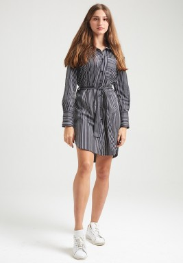 Black Striped Belted Shirt Dress